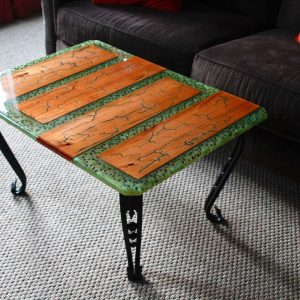 Kiwi Coffee Table features epoxy, wood and gemstones. This epoxy coffee table is a unique home decor designed by Swerl Designs LLC