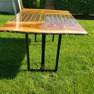 Wood and Brick Dining Room Table with Epoxy - Custom Home Decor by Swerl Designs