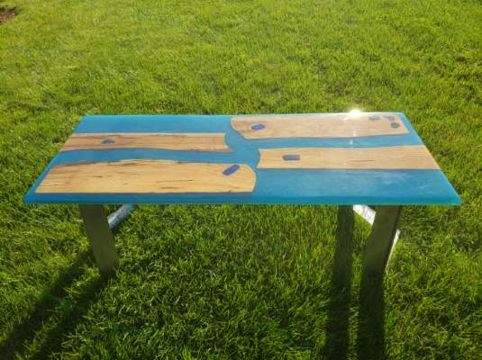 Epoxy and Wood Coffee Table - Custom Designed Coffee Table by Swerl Designs LLC