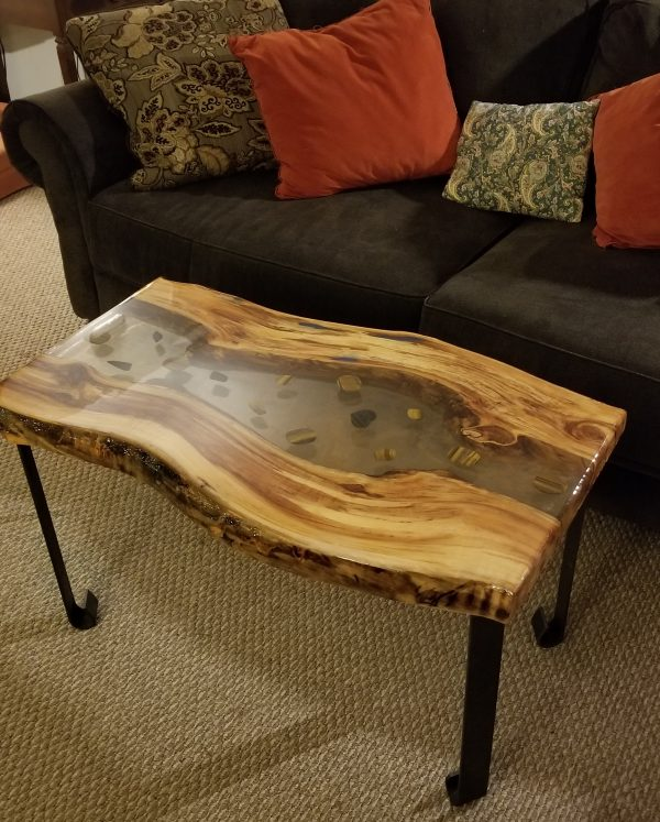 Tiger Eye Maple Table and couch designed and built by Swerl Designs LLC