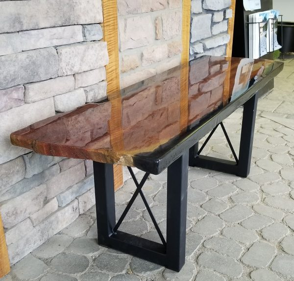 Western Mountain Stone Bench designed and built by Swerl Designs LLC